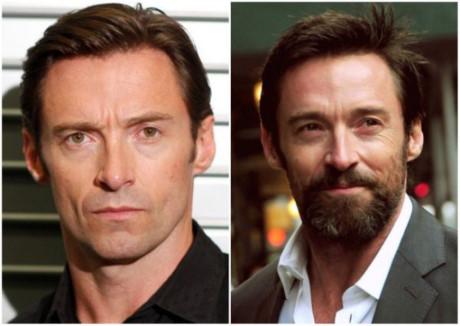 Thật dễ dàng nhận ra sự khác biệt khi để hoặc không để râu của Hugh Jackman