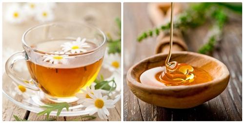 tẩy ria mép bằng mật ong và trà hoa cúc